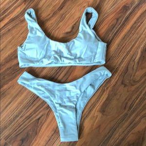 57469792d5 SHEIN Swim | Gray Scoopneck High Leg Bikini | Poshmark
